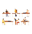 collection of osteopaths performing treatment vector image