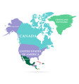 colorful map north america continent vector image vector image