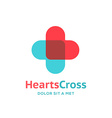 Cross plus heart medical logo icon design template vector image