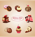delicious cakes collection vector image vector image
