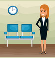 elegant businesswoman in the waiting room vector image