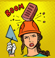 female builder brick falls on helmet vector image vector image