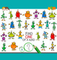 find one of a kind game with aliens characters vector image vector image