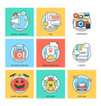 Flat Color Line Design Concepts Icons 5 vector image vector image