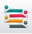 four steps colorful infographic design for data vector image