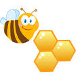 Friendly Bee And Honeycombs vector image