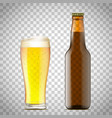 glass of beer and a bottle vector image vector image