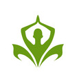 green yoga and care logo template vector image vector image