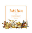 hand drawn wild west cowboy elements below vector image vector image