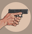 hand with gun gun control using both hands vector image vector image