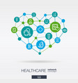 healthcare integrated thin line icons in heart vector image vector image