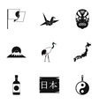 Japan icons set simple style vector image vector image