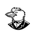 kookaburra wearing tuxedo woodcut black and white vector image vector image
