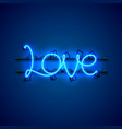 neon text love signboard on the blue background vector image vector image