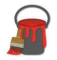 paint brush and bucket vector image vector image