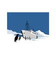 Passenger Ship Cargo Boat Anchor Retro vector image vector image