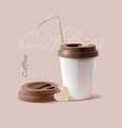 realistic detailed 3d paper coffee cup vector image