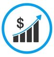 Sales Bar Chart Circled Icon vector image
