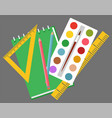school stationery tools notepad and paint rulers vector image vector image
