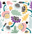 seamless hand drawn floral pattern in pink vector image