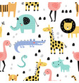 seamless pattern funny jungle animals vector image vector image