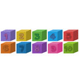 set number box vector image vector image