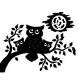 silhouette of three owls on branch vector image