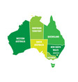 simplified map of australia divided into states vector image vector image