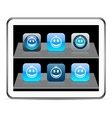 Smiley blue app icons vector image