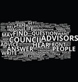 the council of advisors text background word vector image vector image