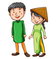 Two Asian people vector image