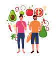 woman and man with vegetables healthy food vector image vector image