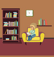 woman reading book on chair at home vector image