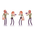 young red-haired man and woman with gadgets vector image vector image