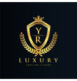 yr letter initial with royal luxury logo template vector image vector image