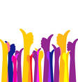 Many likes thumbs up colorful bright background vector image