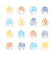 symbol human mind color thin line icon set vector image