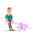 a person leads a piggy bank on a leash vector image vector image