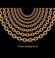 background with chains golden metallic necklace vector image vector image