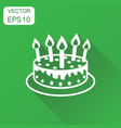 cake with candle icon business concept pie vector image vector image