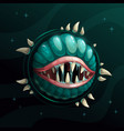 cartoon creepy monster planet with spittle mouth vector image vector image