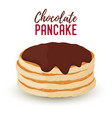 cartoon pile of pancakes chocolate syrup vector image vector image