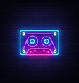 cassetts for tape recorder neon sign retro vector image