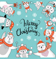 christmas square turquoise banner with characters vector image