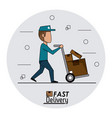 circular frame background fast delivery man with vector image vector image