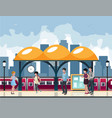 city people are waiting for the subway service vector image