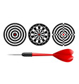 classic dart board target set and darts red arrow vector image