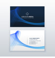 clean blue business card with wave shape vector image vector image
