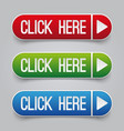 colorful click here web buttons set vector image