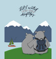 couple hippos are on green field in mountains vector image vector image